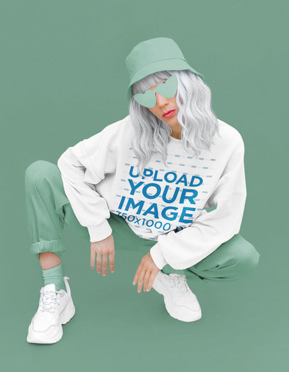 Monochromatic Mockup of a Woman Showing Her Swag While Wearing a Sweatshirt 40235-r-el2