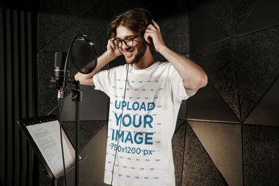 T-Shirt Mockup of a Male Singer Recording in a Studio 40167-r-el2