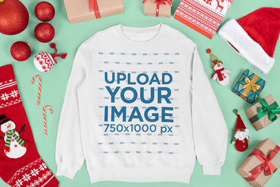 Mockup of a Crewneck Sweatshirt Surrounded by Christmas Decorations and Gifts m16