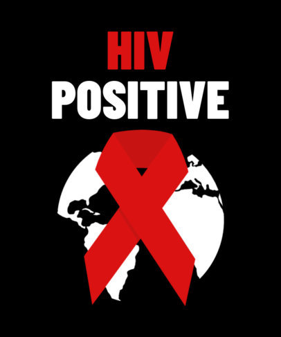 HIV Awareness T-Shirt Design Generator Featuring a Red Ribbon Graphic 3097c