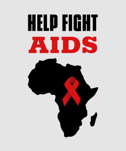 AIDS Awareness T-Shirt Design Template Featuring a Red Ribbon Clipart 3097e