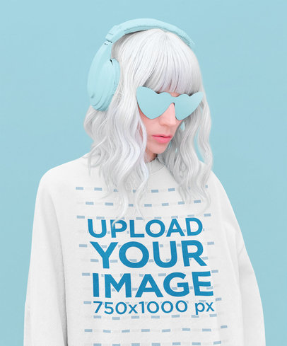 Monochromatic Mockup of a Trendy Woman with Silver Hair Wearing a Sweatshirt 40259-r-el2
