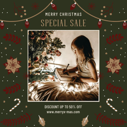 Instagram Post Template for Discounts Featuring a Christmas Theme 3087d