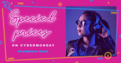 Facebook Post Template for Cyber Monday Headphone Deals 3102i