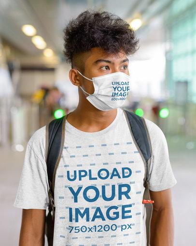 Face Mask Mockup of a Man Wearing a Heathered T-Shirt 44448-r-el2