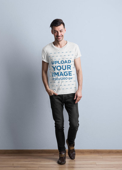 Mockup of a Man Wearing a Round Neck T-Shirt 43117-r-el2