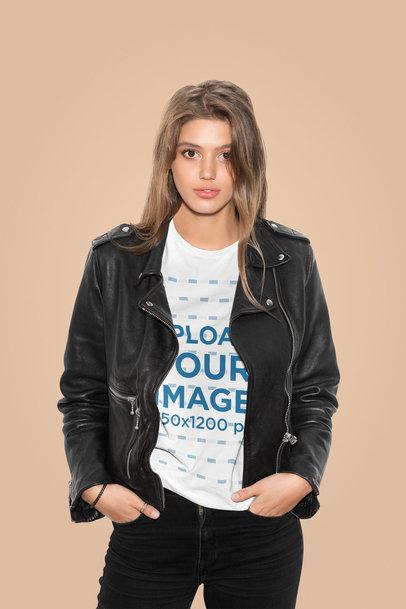 T-Shirt Mockup of a Fashionable Woman Posing in a Studio 43075-r-el2