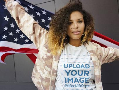 T-Shirt Mockup of a Patriotic Woman Waving a Flag 44660-r-el2