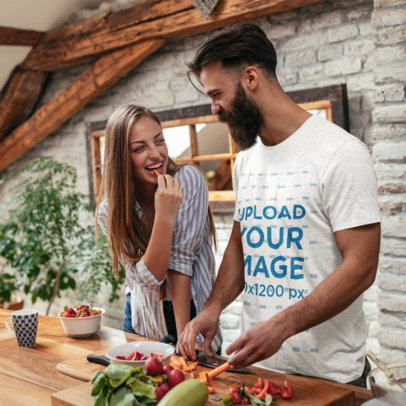 T-Shirt Mockup of a Bearded Man Cooking with His Girlfriend 44373-r-el2