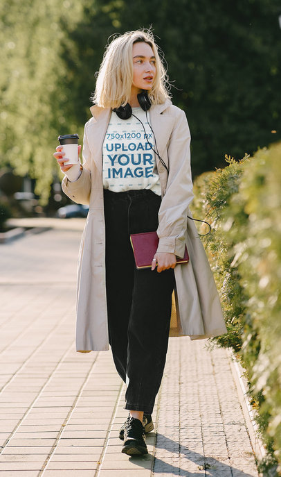 T-Shirt Mockup of a Woman with a Trendy Style Walking on the Street 43847-r-el2