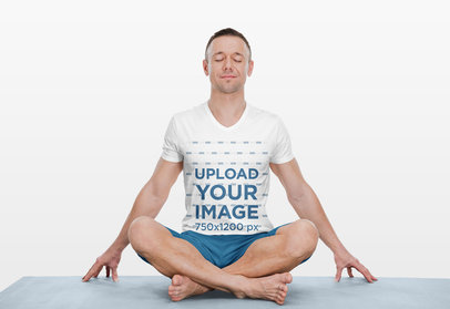 V-Neck Tee Mockup Featuring a Man in a Meditating Pose 43897-r-el2