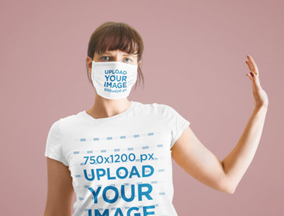 T-Shirt and Face Mask Mockup of a Woman Standing in a Studio 43029-r-el2