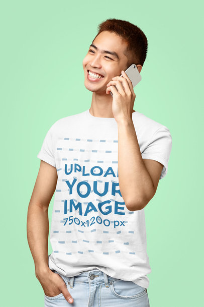 Mockup Featuring a Smiling Man with a T-Shirt Talking on the Phone 40457-r-el2