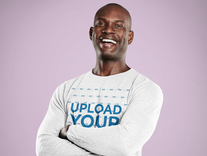 Long Sleeve T-Shirt Mockup Featuring a Happy Man with Crossed Arms 40443-r-el2