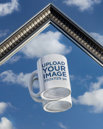 Mockup of an 11 oz Mug Over a Vintage Mirror m588