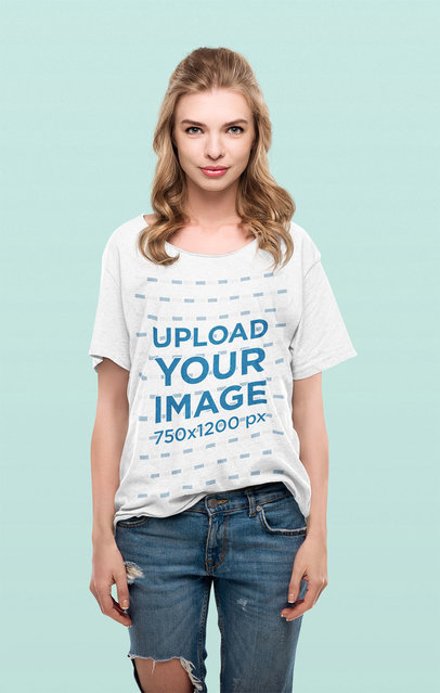 Mockup of a Woman at a Studio Wearing a Slouchy Tee 44366-r-el2