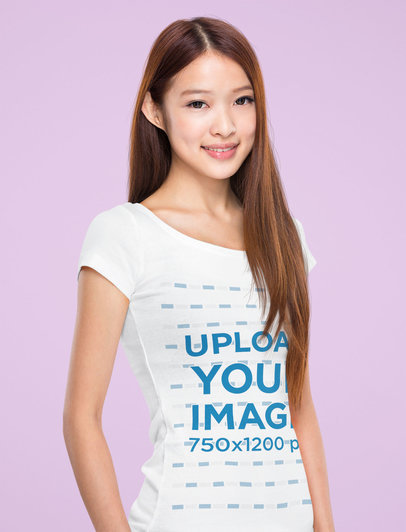 T-Shirt Mockup of a Smiling Woman with Long Hair at a Studio 44585-r-el2