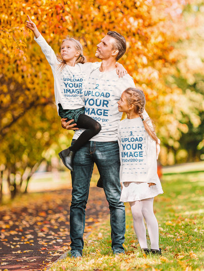 Long-Sleeve Tee Mockup Featuring a Father and His Daughters at a Park 44304-r-el2