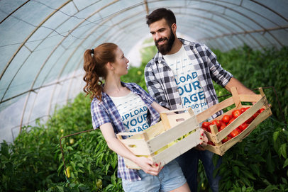 T-Shirt Mockup Featuring a Couple Carrying a Box of Tomatoes 44003-r-el2