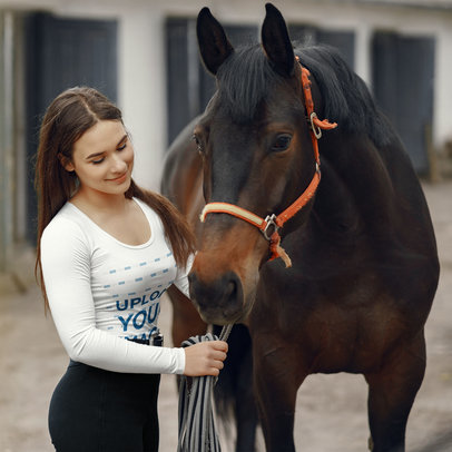 Long-Sleeve Tee Mockup of a Young Woman Petting a Horse 44158-r-el2