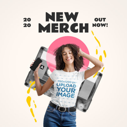 T-Shirt Mockup Featuring a Woman Listening to Music 3174-el1