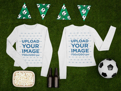 Long Sleeve Tee Mockup Featuring Items of Soccer Fans m393