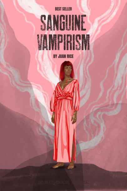 Book Cover Design Template Featuring a Female Vampire with Modern Clothes 3116e