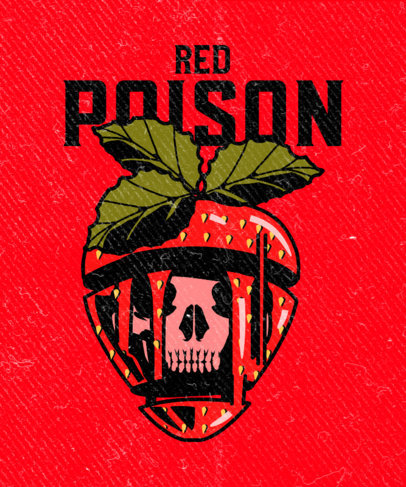 Illustrated T-Shirt Design Template for a Rock Band Featuring a Strawberry With a Skull 3127a
