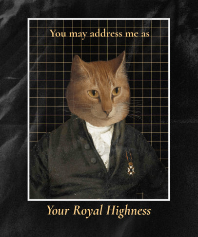 Funny T-Shirt Design Template Featuring a Royal Cat in a Suit 3120c