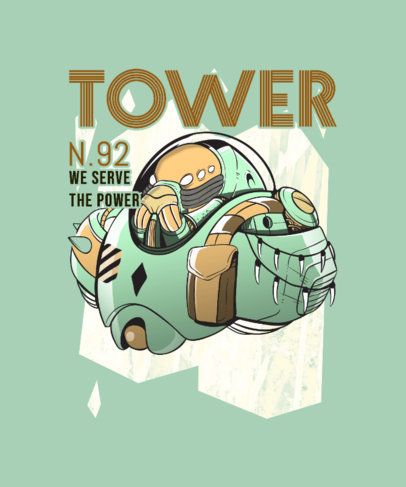 Illustrated T-Shirt Design Maker Featuring an Armored Alien 3808a