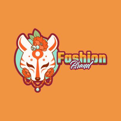 Fashion Brand Logo Template Featuring a Kitsune Mask Graphic 3803e
