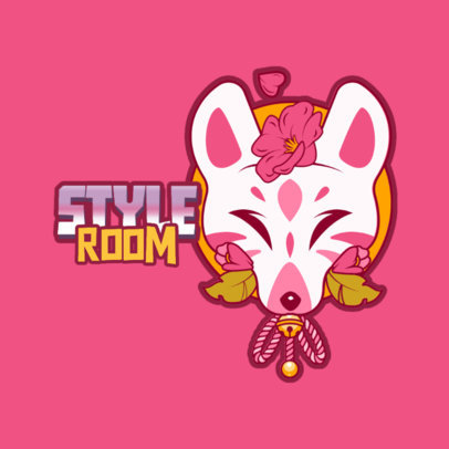 Online Logo Template for Clothing Brands Featuring a Beautiful Fox Mask Illustration 3803h