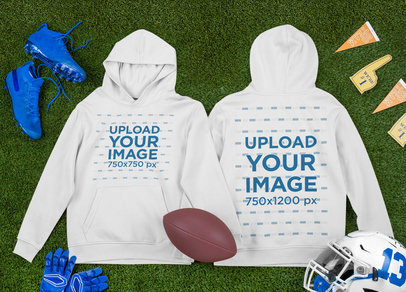Both-Sides View Mockup of a Pullover Hoodie Surrounded by Football Garments m325