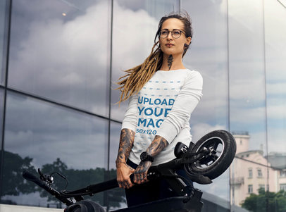 Long Sleeve Tee Mockup of a Tattooed Woman With a Modern Scooter 43707-r-el2