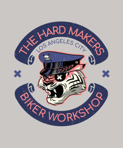 T-Shirt Design Maker for Bikers with an Illustration of a Tiger 3132B