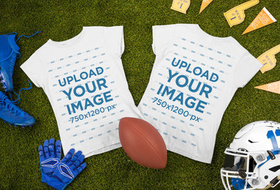 Both Sides-View Mockup of a Round Neck Tee Surrounded by Football Garments m332