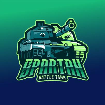 Gaming Logo Template Featuring a Battle Tank Clipart 3819e