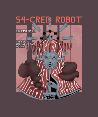 T-Shirt Design Maker Featuring a Mysterious Robot Illustration 3809i