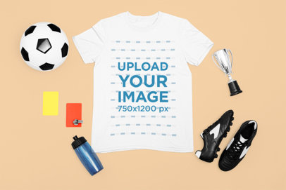 T-Shirt Mockup with Elements of a Soccer Referee m311