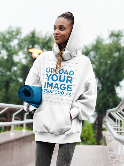 Hoodie Mockup Featuring a Woman Carrying a Mat 44492-r-el2