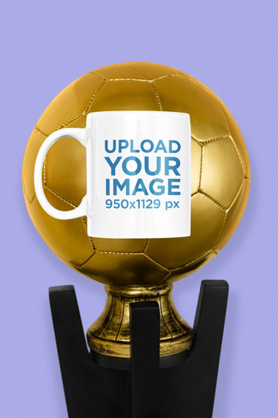 11 oz Coffee Mug Mockup Featuring a Soccer Trophy m319