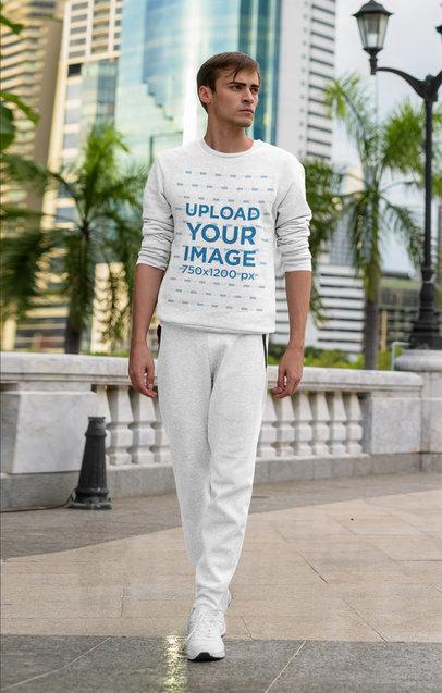 Mockup of a Man with a Heathered Sweatshirt Walking on the Street 44575-r-el2