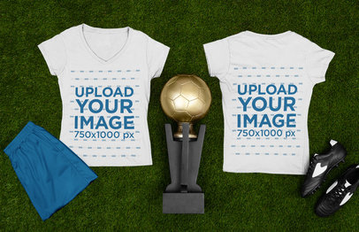 Mockup Featuring Both Sides of a Soccer T-Shirt and a Trophy m395