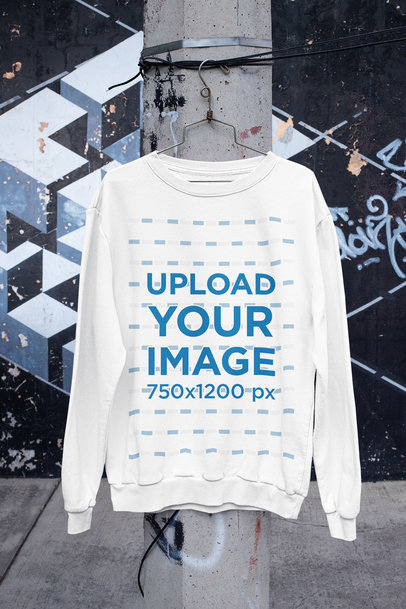 Mockup of a Crewneck Sweatshirt Hanging in an Urban Scenario m445