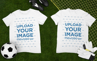 Mockup of Two Round Neck T-Shirts Placed over a Soccer Field m378
