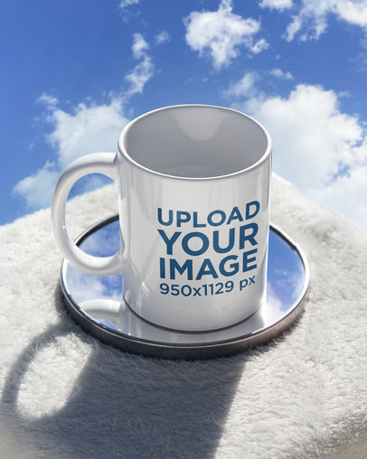11 oz Coffee Mug Mockup Featuring a Small Mirror and a Blue Sky m590