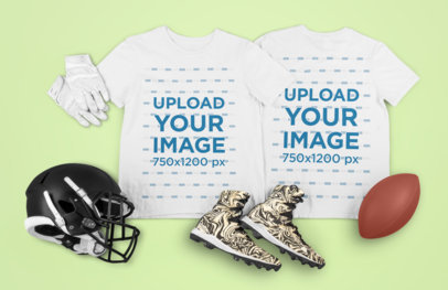 Mockup Featuring Both Sides T-Shirt and Football Accessories m338