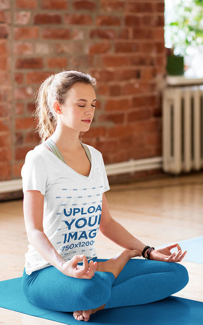 V-Neck T-Shirt Mockup of a Woman Meditating in a Yoga Class 42940-r-el2