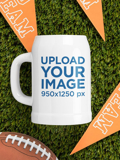 Mockup of a Beer Stein Placed on a Football Field m351