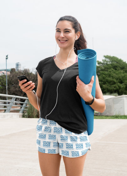 Sublimated Shorts Mockup of a Woman Walking to Pilates Class 41196-r-el2